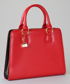 Take a look at this Jeanne Lottie Red Square Satchel on zulily today!