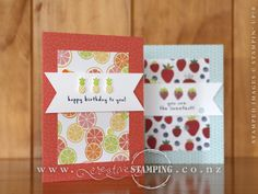 "This bright and cheery birthday card uses the Fruit Basket stamp set with the coordinating Itty Bitty Fruit Punch Pack, the awesome Tutti-Frutti 6"" x 6"" Designer Series Paper and Tutti-Frutti Adhesive-Backed Sequins, all available from the Occasions Catalogue. The card bases are the gorgeous Tutti-Frutti Cards & Envelopes, which you can get for FREE with a qualifying order during Sale-A-Bration. www.creativestamping.co.nz 
