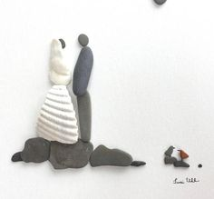 Pebble Art Wedding Couple Bride and Groom Art Modern Wall Art Abstract Contemporary Signed. This signed original pebble art is made by me, Susi Uhl. The pebble art is a unique style made of pebbles collected by me. This art would be a perfect wedding gift for couple, romantic pebble art,