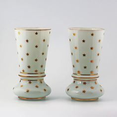 PAIR of ANTIQUE FRENCH SIGNED WHITE OPALINE ART GLASS FLOWER VASE s GOLD STARS #3rdRepublic #PV
