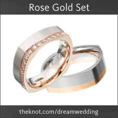 "Don't forget to ""Pin It To Win It!"" Pin 'Rose Gold Set' on your own 'The Knot Dream Wedding' Pinterest board for a chance to win the The Knot Dream Wedding Pin It Sweepstakes!  Wedding Bands by Furrer-Jacot from Michael C. Fina!"