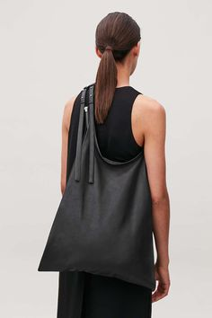 Detailed image of Cos leather tote bag in black - Work Bag - bags Wardrobe Sale, Small Wardrobe, Cos Bags, Shopper Bag, Tote Bag, Printed Skirts, Fashion Brand, Purses And Bags, Black Bags