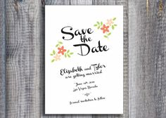 Slanted Script / DIY Print at Home Save the Date by CityBeeDesign, $35.00