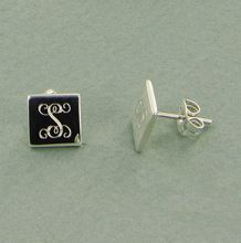 Monogram Gift Guide Under $50 |These silver monogram earrings are the perfect gift. Personalize them with her monogram or single initial in the font you choose and we will laser engrave your personalization on this dainty square mounted on posts
