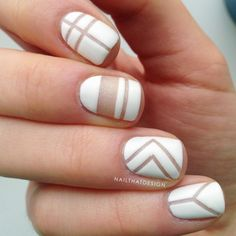 a frosty white negative space manicure #NailArt