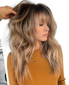 Cool Hairstyles Golden Bronde Razored Shag for Long Hair.Cool Hairstyles Golden Bronde Razored Shag for Long Hair Long Shag Haircut, Haircuts For Long Hair, Long Hair Cuts, Hairstyles With Bangs, Straight Hairstyles, Mid Length Hair With Bangs, Long Shag Hairstyles, Men's Hairstyle, Wedding Hairstyles