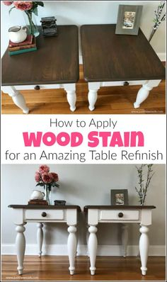 refinishing furniture Wood stain can feel intimidating at times. See how to refinish a table with the perfect furniture stain and paint to get amazing results. Refinishing furniture with the best wood stain and furniture paint tutorial. White Painted Furniture, Staining Furniture, Furniture Diy, Painting Furniture Diy, Diy Furniture Renovation, Best Wood Stain, Furniture Makeover Diy, Furniture Renovation, Diy Furniture Projects