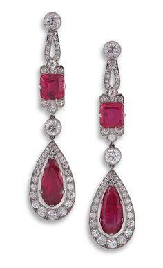 Pair of Art Deco ruby and diamond ear-pendants.