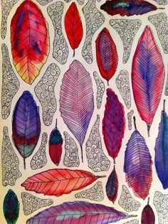 Leaf Design Positive/Negative space Organic Shape Line Color Variety Repetition | watercolor | fall art | k-8 art