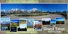 Grand Teton National Park - overlap many small pictures over a panoramic photo for a travel scrapbook page