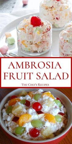 fruit salad AMBROSIA FRUIT SALAD Ambrosia Salad is a classic holiday recipe and always a crowd-pleaser. This marshmallow fruit salad recipe is easy to make and a great dessert salad for ev Creamy Fruit Salads, Dessert Salads, Fruit Salad Recipes, Fruit Fruit, Fruit Dishes, Mini Marshmallows, Fruit Salad With Marshmallows, Winter Fruit Salad, Summer Salads With Fruit