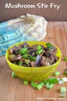 Mushroom Stir Fry-  Easy to make healthy stir fry . It is Vegan.