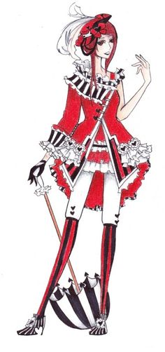 Inspiration for Queen of Hearts cosplay.