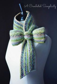 """Knit-Look"" Bow Tie Cowl / Scarf Crochet pattern by Jennifer Pionk"