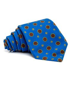 Kiton Blue and Rust Dot Tie 59'' long 3.5'' wide 100% silk Handmade in Italy
