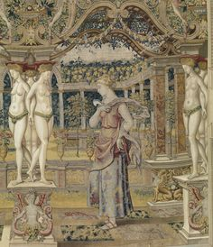 Detail of Pomona, from Vertumnus Appears to Pomona in the Guise of a Vintner tapestry. Design attributed to Pieter Coecke van Aelst, ca. 1544