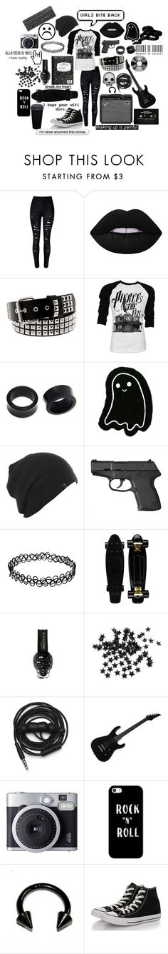 """Girls Bite Back"" by causingpanicatthetheater on Polyvore featuring WithChic, Lime Crime, Retrò, NOVICA, INC International Concepts, Urbanears, Casetify and Converse"