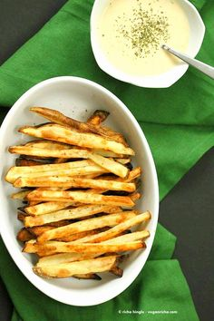 Baked Fries with Garlic Sauce - Russet potato baked and drenched in garlic…