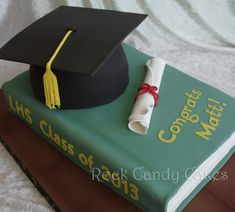 """Graduation Hat & Book Cake Graduation Hat & Book Cake 1/4 sheet book. 6"""" rounds carved into hat. TFL! #featured-cakes #alyssac #leannew #cakecentral"""