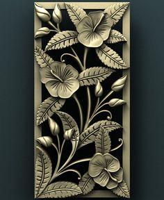 "STL Model for CNC Router Engraver Carving Machine Relief Artcam Aspire ""Flowers"" cnc file Wood Carving Designs, Wood Carving Art, Wood Art, Clay Wall Art, Clay Art, Cnc Router, Cnc Maschine, Cnc Engraving Machine, Glass Painting Designs"