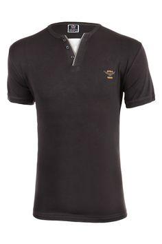 b9b2c8be5dd7 Bavlněné pánské tričko s krátkým rukávem a zapínáním u krku