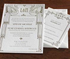 Our popular Chicago #wedding #invitation design features a 1920's Great Gatsby inspired motif.  Choose this or any of our other invitation designs with our limited time $599 letterpress invitation special.  | Invitations by Ajalon | invitationsbyajalon.com