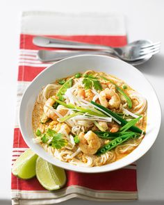Try our cheat's version of the Malaysian noodle soup that's ready in just 20 minutes. Sprinkle crushed dried chilli on top for extra spice.