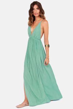 Sexy Seafoam Dress - Maxi Dress - Backless Dress - $45.00