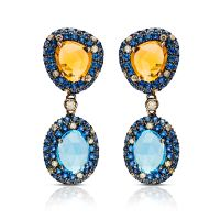 Blue Topaz and Citrine Drop Earrings 160745