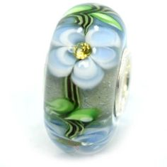 Light Blue Floral Lampwork Glass Bead Charm w/ Yellow CZ Stones , .925 Sterling Silver Core, fits Pandora, Troll, Chamilia Bracelets