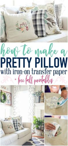You will not believe how easy it is to make a custom pillow from a free printable with just a few tools! Grab some iron on transfer paper and you're ready to get going!