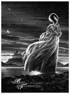 The Bride of Frankenstein - scratch board art by Nicolas Delort