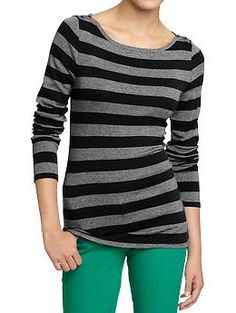 Black and Gray Stripe Boatneck Tee