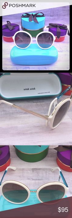 Kate spade Round eye cream/gold sunglasses These are Gorgeous! Very movie star BOHO Cream colored w/gold & cream (teal color is protective plastic) sides! Case will be included on full price purchase (15$ value) kate spade Accessories Sunglasses