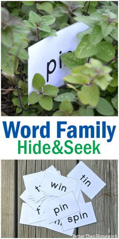Print out these word cards to play a fun IN word family game: hide and seek words. Hide the words, find them, and practice reading them! Word Family Activities, Family Fun Games, Spelling Activities, Kids Learning Activities, Preschool Activities, Reading Workshop, Reading Tips, Early Reading, Building Games For Kids