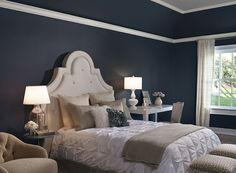 Dreamy Blue Bedroom - Navy blue and gray paint colors give this bedroom an ethereal look. Benjamin Moore Mysterious AF-565 (Walls), Eternity AF-695 (Ceiling) and White Dove OC-17 (Trim)
