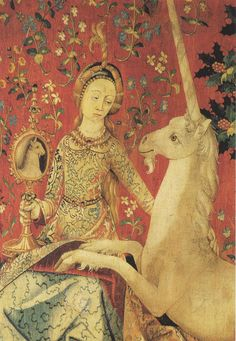 'Sight' panel detail from 'The Lady and the Unicorn' tapestries, Flemish, around…