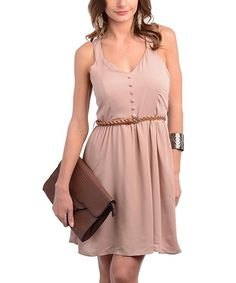 68721ab037 Blush Button Belted Sleeveless Dress// Simply Fashion, Teen Fashion,  Vacation Style,