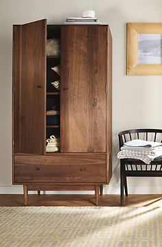 For hand-crafted dining storage, add the mid-century-inspired armoire to your modern or contemporary dining room or entryway. Entryway Furniture, Bedroom Furniture, Home Furniture, Furniture Design, Bedroom Decor, Modern Bedroom, Wardrobe Room, Wardrobe Cabinets, Armoire Wardrobe