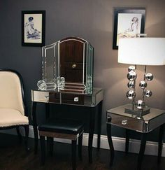 Clarissa Mirrored Dressing Table and Stool Set