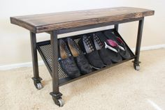 Industrial Entry Bench by TextureCreations on Etsy, $175.00 - I think I can make something similar for the entryway for lots less. Great idea though!