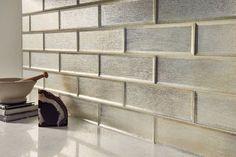 Silver Glisten Glass Subway Tile