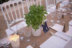 wedding table decoration with  basil pots and burlap runner - my favorite! #tabledecorations #weddingdecoration #weddingingreece #ionianislands