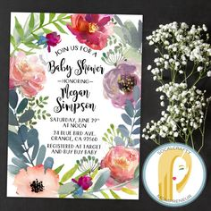 Bohemian Baby Shower Invitation Peony Peonies by socalcrafty