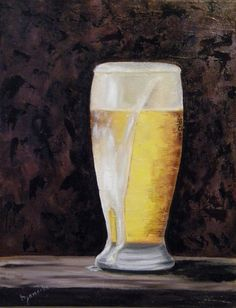 Beer Glass Canvas Print featuring the painting Full Beer by Barbara Janecka