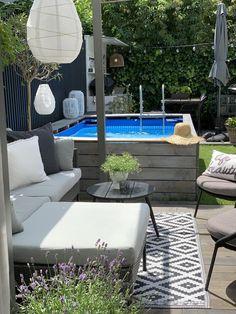 Small Backyard Design, Small Backyard Landscaping, Backyard Ideas, Patio Ideas, Terrace Garden Design, Above Ground Pool, In Ground Pools, Outdoor Decor, Outdoor Furniture Sets