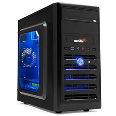 "Sentey Cs2-1333 Plus Desktop Gaming Computer Case / Micro ATX / Transparent Side Panel Acrylic Window / USB 3.0 + USB 2.0 / Hd Audio / 120mm Front Blue LED Fan Cooler / 2.5"" SSD Support / 330mm VGA Length Support / Cable Management / Watercooling Ready + Hidden Cable Sytem / Support Any Power Supply As 80 Plus Standard Bronze Gold or Platinum / Cable Management for Modular Power Supply - Gaming Case - Desktop Case ATX or Micro ATX - - Best Pc Gaming and Desktop Mid Tower - Su"