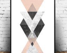 Geometrische wall art, minimalistische poster, aquarel kunst, abstracte print, home decal, roze grijs, driehoek afdrukken, Scandinavische afdrukken, kunst aan de muur