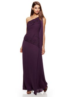 HALSTON HERITAGE One-Shoulder Cascading Sleeve Gown