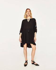 ZARA - WOMAN - EMBROIDERED MULTICOLOURED DRESS